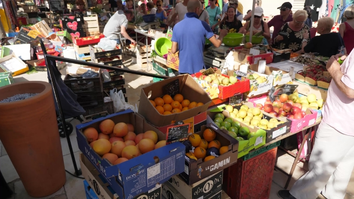 Cassis Provence France Street Market Selling Fresh Food And Clothes.