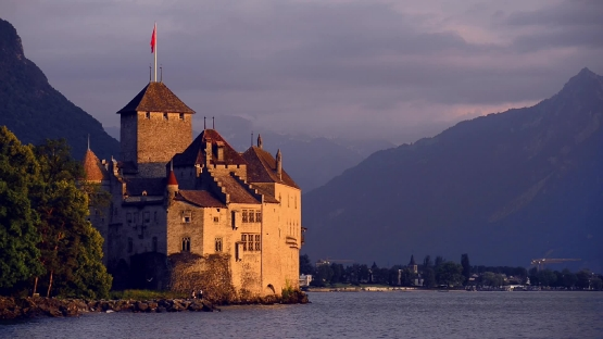 Chateau de Chillon by night, Montreux, Switzerland
