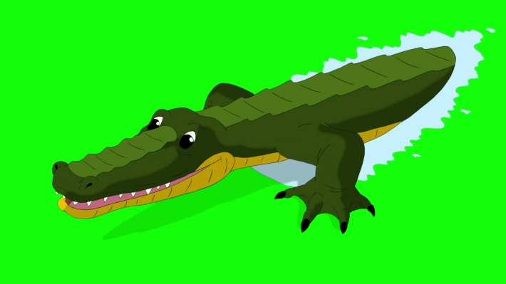 Crocodile Attacks Front View Chroma