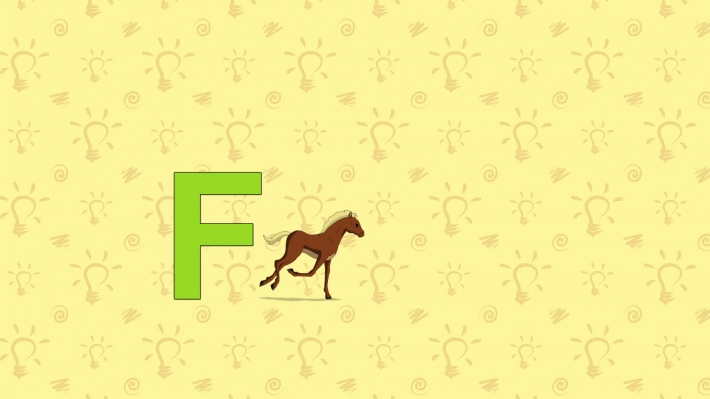 Foal. English ZOO Alphabet - letter F