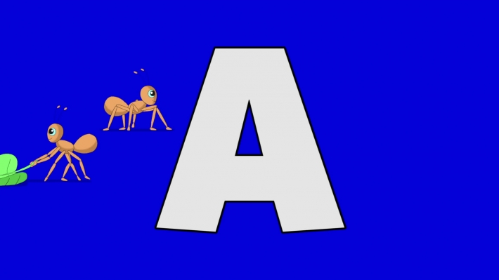 Letter A and Ant (background)