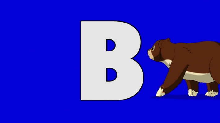Letter B and Bear (background)