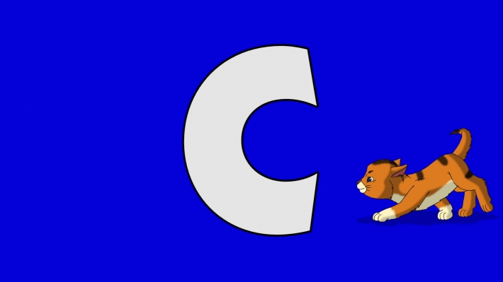 Letter C and Cat (background)