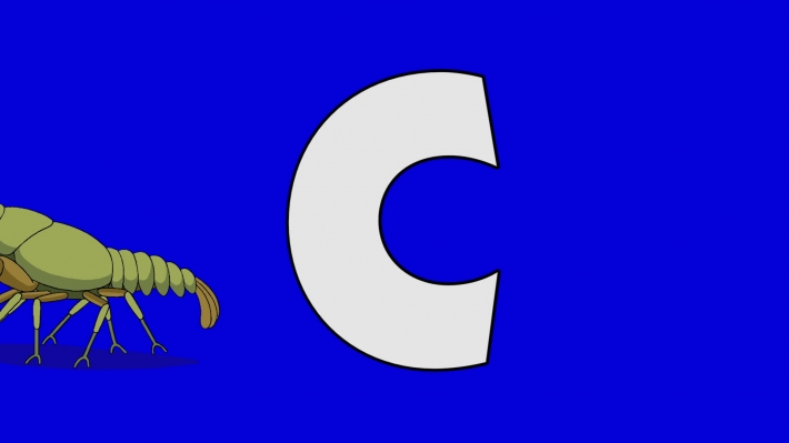 Letter C and Crayfish (background)