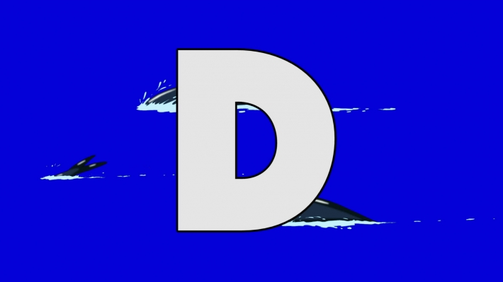 Letter D and Dolphin (background)
