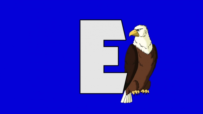 Letter E and Eagle (background)
