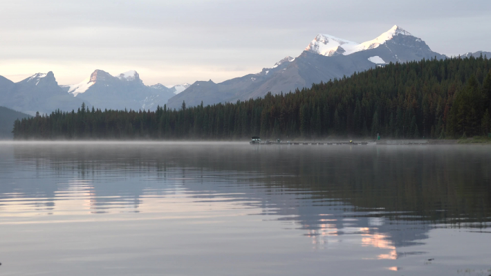 Maligne Lake close to Jasper with early morning mood, Alberta, Canada