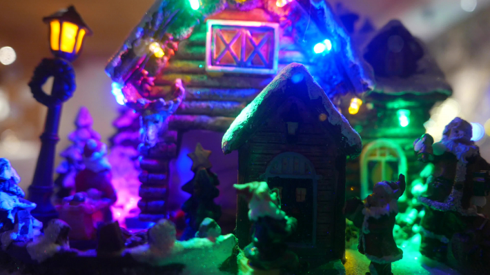 Miniature father Christmas house