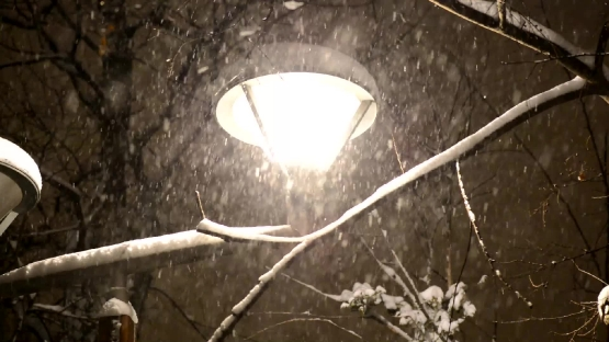 Night Winter Street Lamp With Falling Snow