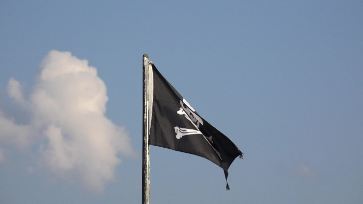 Pirate flag floating in the wind