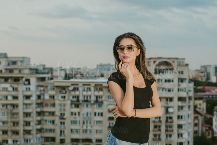 Beautiful woman with city background