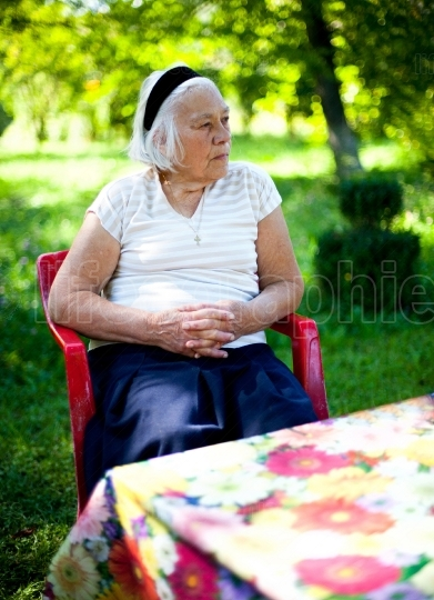 Elderly woman outdoors
