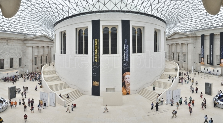 Interior view of the Great Court at the British Museum in London