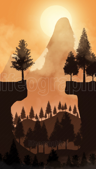 2D illustration mountain landscape at sunset.