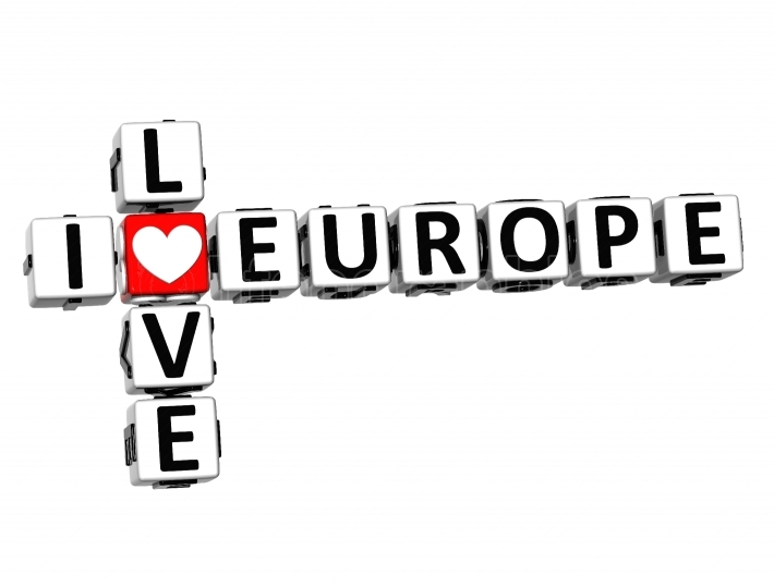 3D Crossword I love Europe on white background
