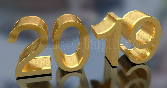 3D Gold Metal 2019 on Gray