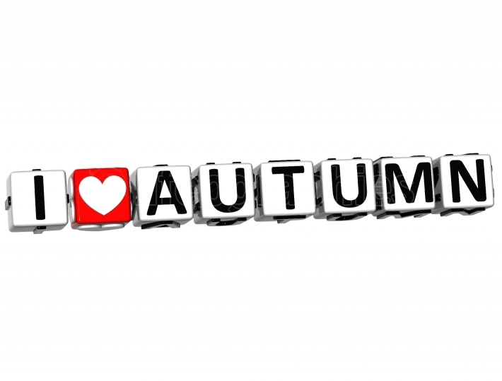 3D I Love Autumn Button Click Here Block Text