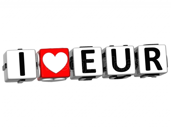 3D I Love EUR  Button Click Here Block Text