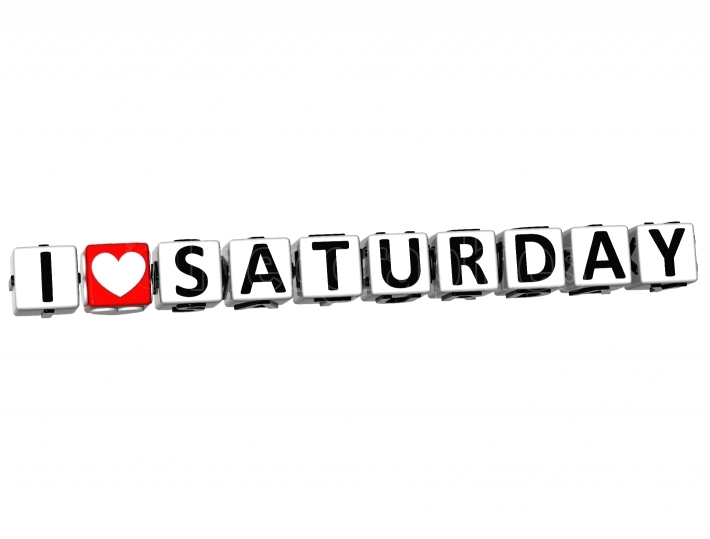 3D I Love Saturday Button Click Here Block Text