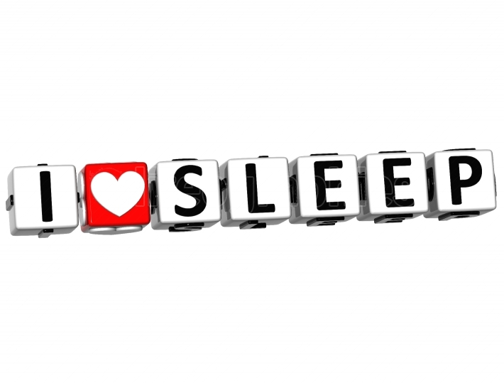 3D I Love Sleep Button Click Here Block Text