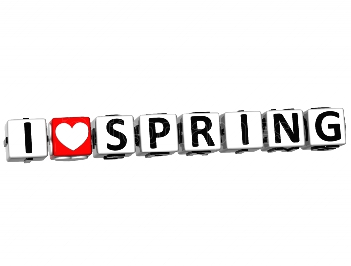 3D I Love Spring Button Click Here Block Text