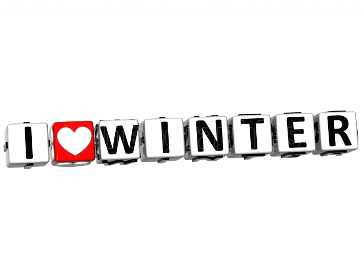 3D I Love Winter Button Click Here Block Text