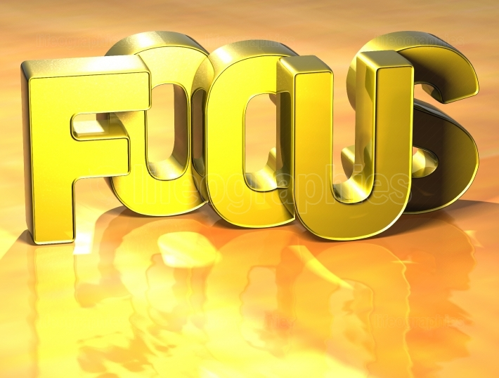 3D Word Focus on yellow background