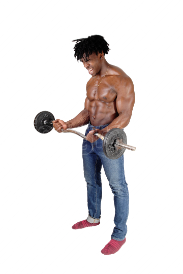 A black man working out with his weighs