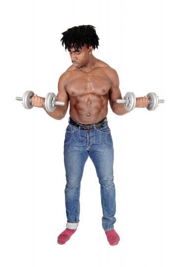 A black man working out with two dumbbell