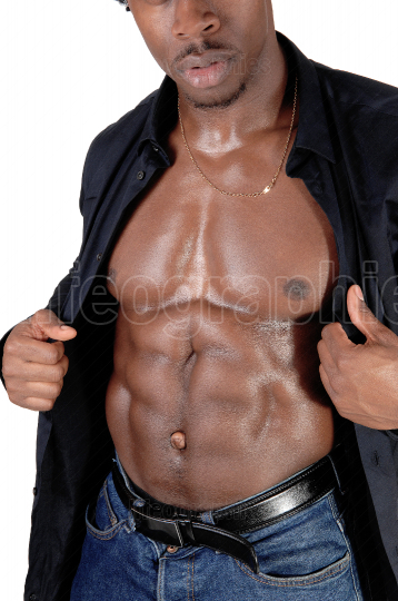 A close up image of the body of a black muscles man