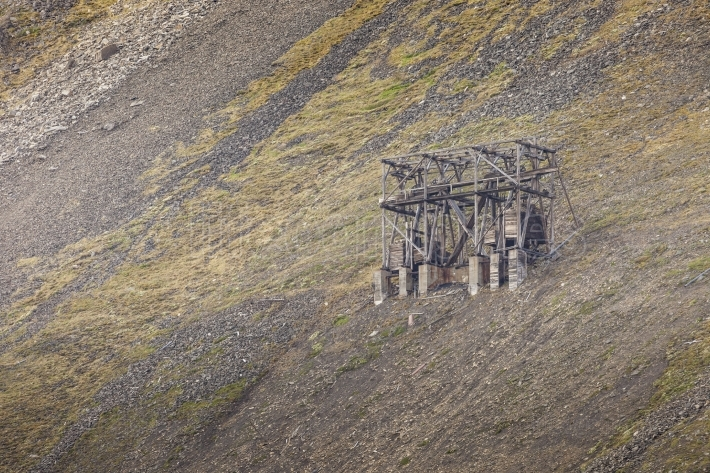 Abandoned wooden coal mine transportation station in Svalbard, N