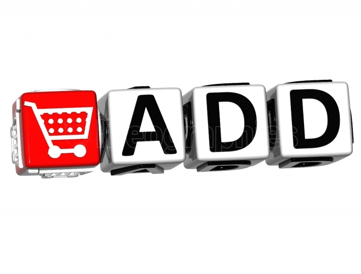 Add to Cart cube text on white background