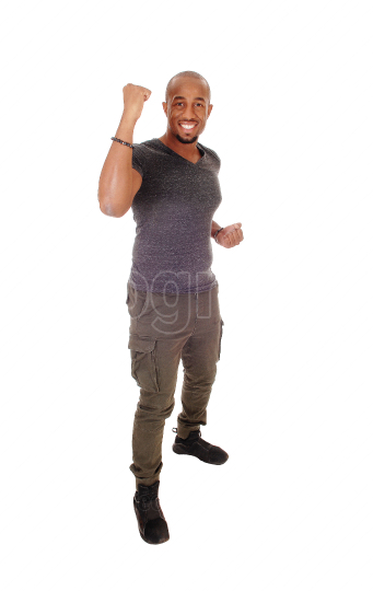 African man lifting his fists, ready for fight