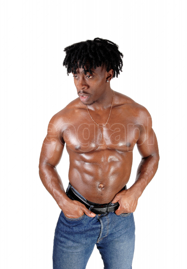 African young man standing shirtless with his body