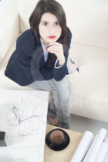 Architect girl working