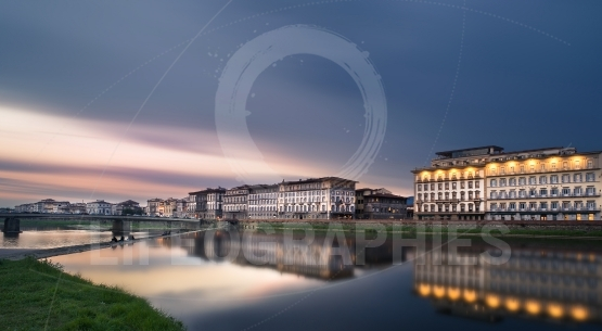 Arno river panorama at sunset, Florence, Italy, in march 31, 201