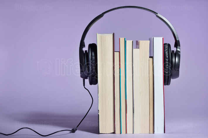 Audio books with books and headphones