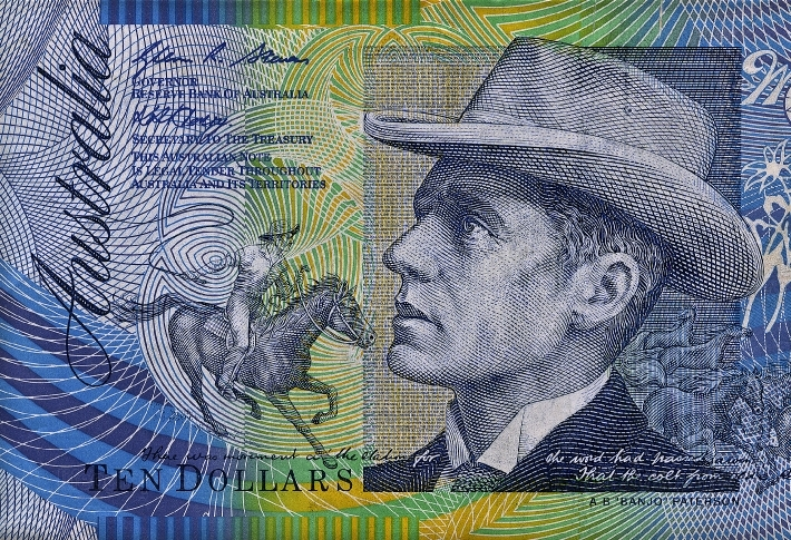Australian $10 note close up