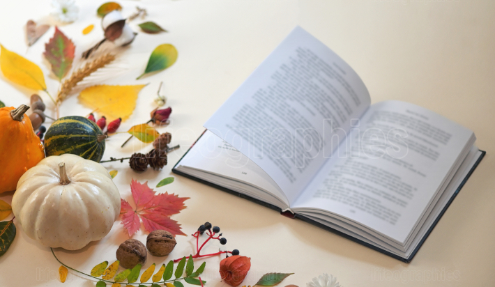 Autumn decoration and open book