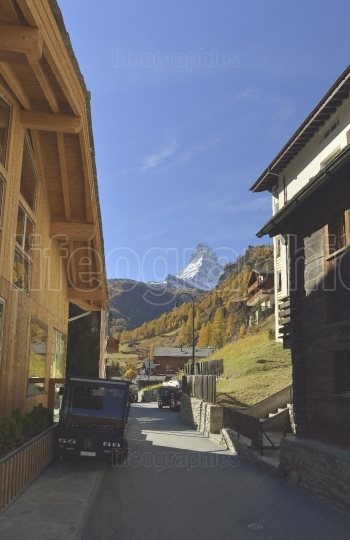 Autumn scene in zermatt with matterhorn mountain from zermatt city.