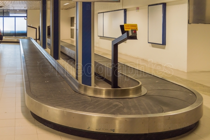Baggage Transfer Rack and Empty Luggage at Rimini Airport in Ita