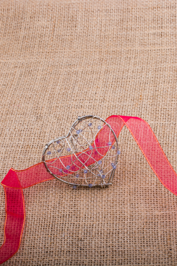 band and Heart shaped cage on linen canvas