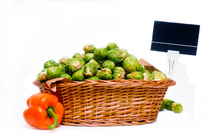 Basket full of brussels sprouts