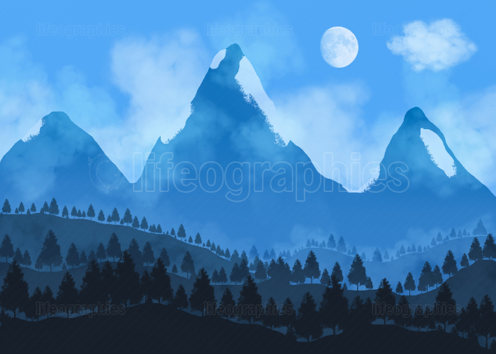 Beautiful landscape. Night scene