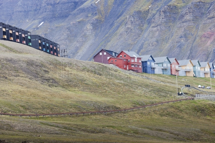 Beautiful scenic view of Longyearbyen (Svalbard island), Norway