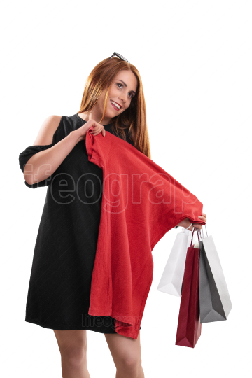 Beautiful smiling woman happy with her shopping