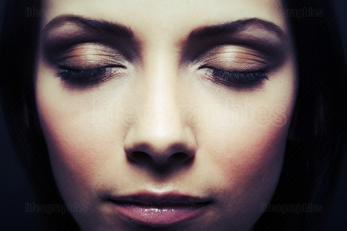 Beautiful woman eyes closed