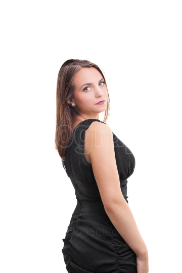 Beautiful woman in little black dress