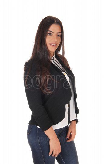 Beautiful woman standing in jeans and black jacket