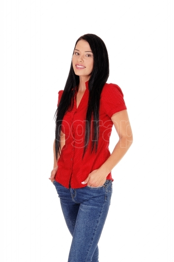 Beautiful woman standing in red blouse